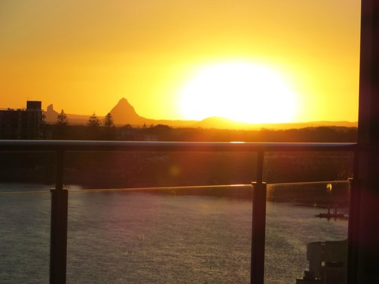 Monaco:                   Sunset over Glasshouse Mountains taken from balconyon 6th floor