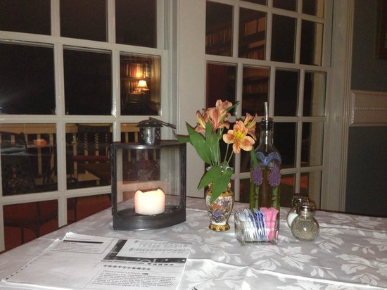 Rose Hill Manor:                                     My table by the piano in the library