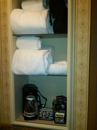The Inn At Charles Town:                   Towels, Hair Dryer, Coffee/Tea Maker & Condiments