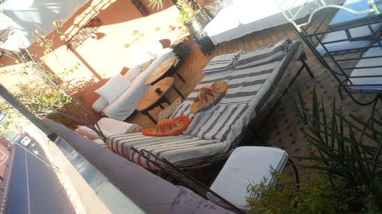 Riad Ajebel:                   Sun lounger on roof terrace.