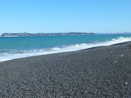 Napier, Nowa Zelandia:                   shingle beach next to campers