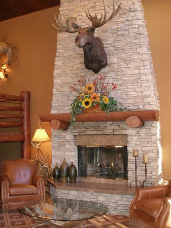 The Lodge at Jackson Hole: lobby fireplace