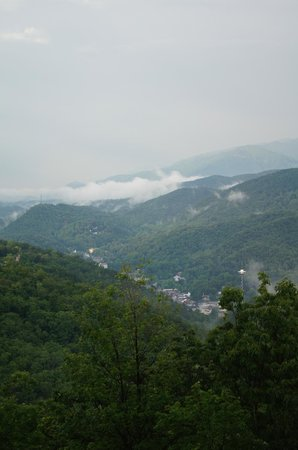 Chalet Village:                   low hanging clouds over Gatlinburg