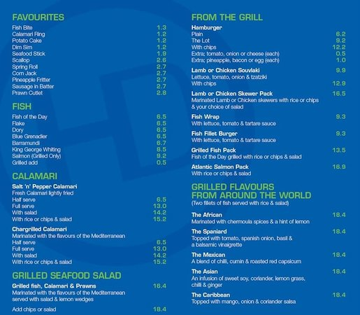 Hunky dory menu picture of hunky dory fish and burger for Fish bar menu