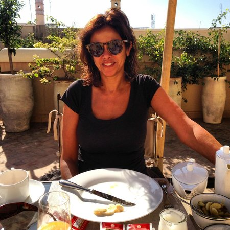 Riad Joya:                   Breakfast on the roof in February!