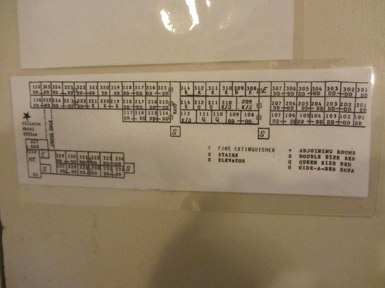 Gillette Motel:                   Hotel layout