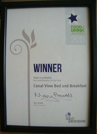 Canal View Bed and Breakfast: Select Lincolnshire Food and Drinks Award Bed and Breakfast of the Year 2013