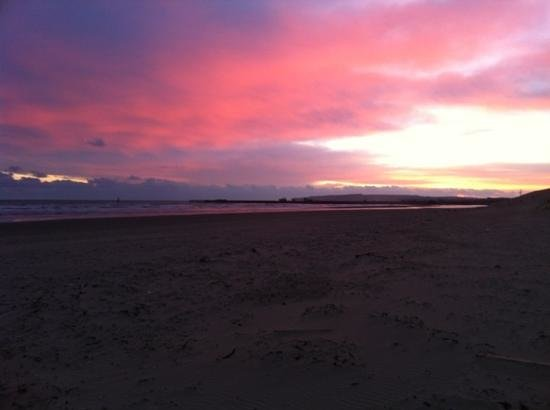 Camber, UK:                                     Sunset on the beach