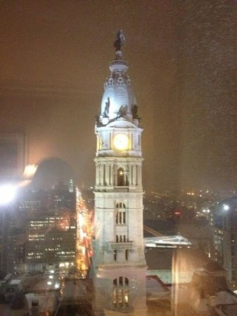 Ritz-Carlton Philadelphia:                   Philly at night, it's snowing!  view from room 2502