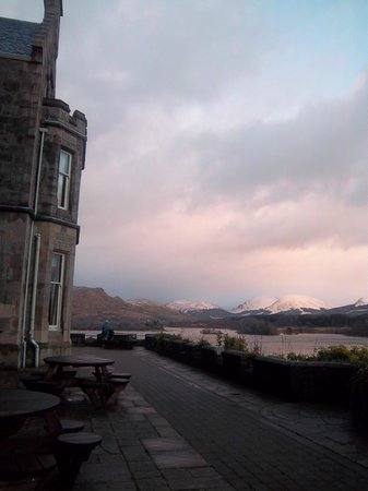 Loch Awe, UK :                   view of veranda of hotel + loch+ mountains!