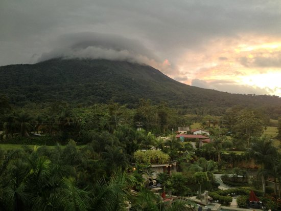 Hotel Royal Corin: View of volcano from balconies (mostly clouded)