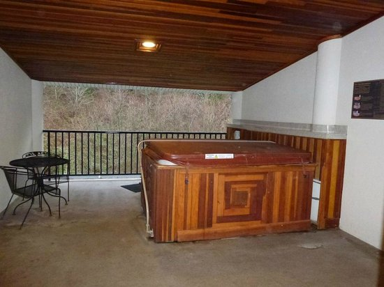 Bonneville Hot Springs Resort &amp; Spa: Hot Tub - Balcony facing hill