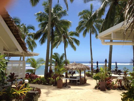 Manuia Beach Resort:                   The ocean between the palms