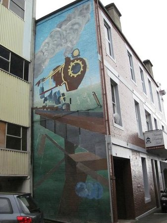 Mural on the side of the Victoria Railway Hotel