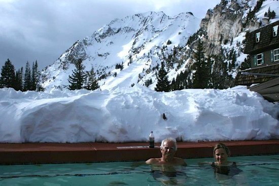 Alta Peruvian Lodge:                   With daughter in hot tub