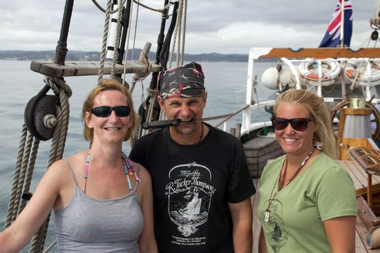 Paihia, New Zealand:                   Desiree, Captain Steve and crew member, Marlin