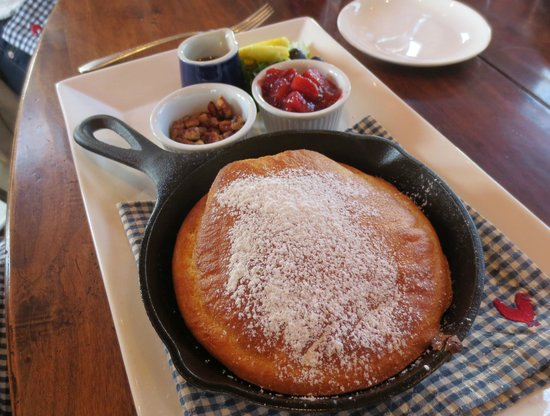 Bernardston, MA: Pancake with fruit compote and candied pecans