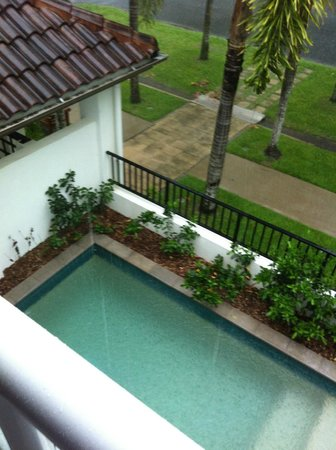 Peppers Beach Club Port Douglas: Two bedroom apartment - view from balcony overlooking plunge pool below (hmmm....privacy?)