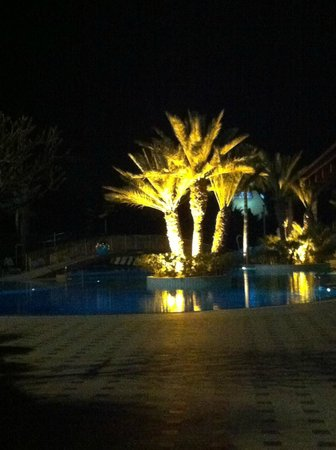 Four Seasons Hotel:                   One of the pools beautifully lit at night
