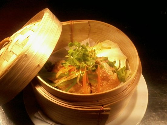 Forres, UK: marinated steamed salmon with bok choi and chinese oyster sauce dressing