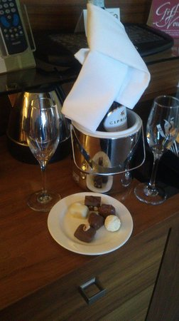 Clontarf Castle Hotel:                                     Wine & Chocolate in the Bedroom when we arrived