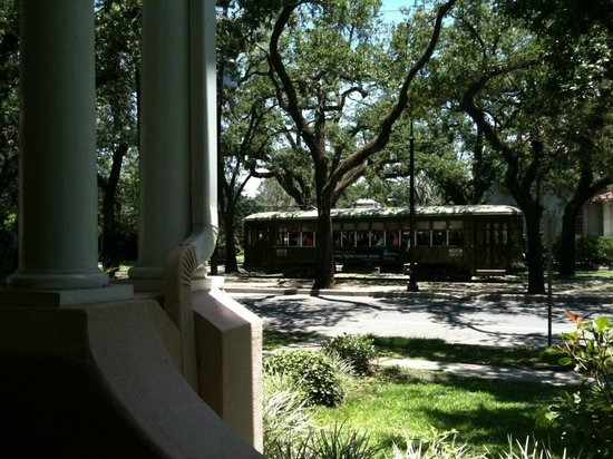 Park View Guest House:                   St Charles streetcar from the porch