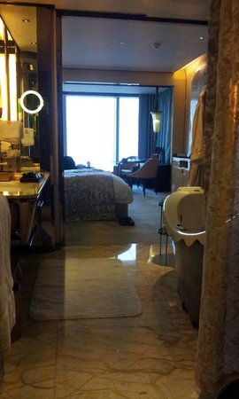 The Ritz-Carlton Shanghai Pudong:                   room view from bath room