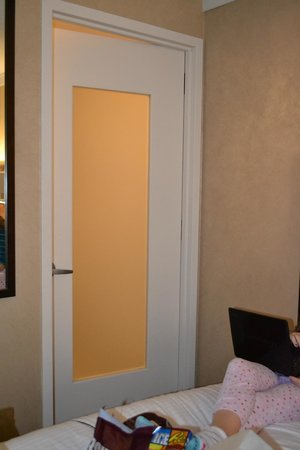 Staybridge Suites Times Square - New York City:                   Glass Bathroom Door -- dumb design flaw