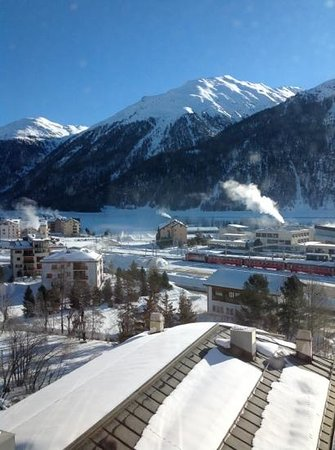 Samedan, สวิตเซอร์แลนด์:                   View from our hotel window on the fourth floor