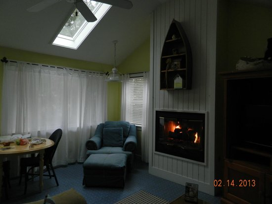 New Buffalo Inn &amp; Spa: Fireplace. Skylights gave lots of natural light.