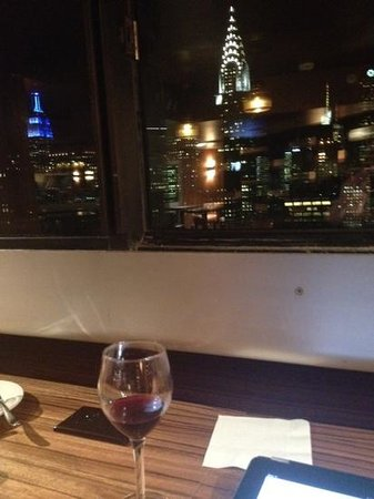 ONE UN New York:                   Evening wine in the lounge (the red wine was delicious!)