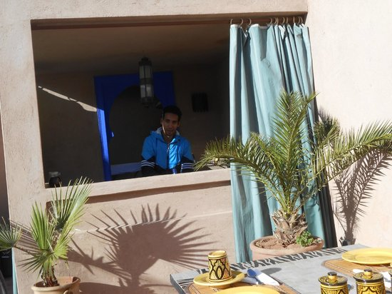 Riad Baba Ali:                   Maroune preparing breakfast on the terrasse