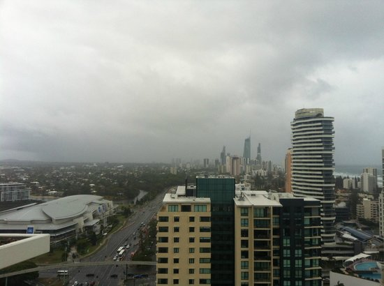 Meriton Serviced Apartments - Broadbeach:                   Rainy day, looking towards Surfers