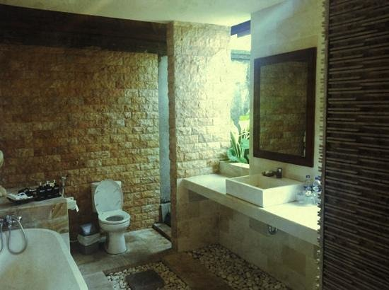 Bali Nyuh Gading Villa: another view of the bath tub, WC and basin.. from the toilet entrance..