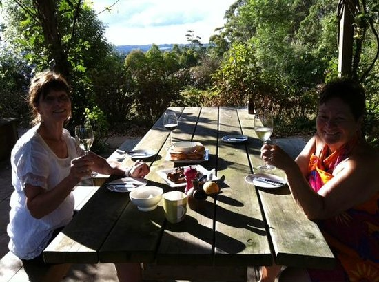 Treghan Cottage:                   Dinner outdoors under the wisteria-clad pergola - beautiful!