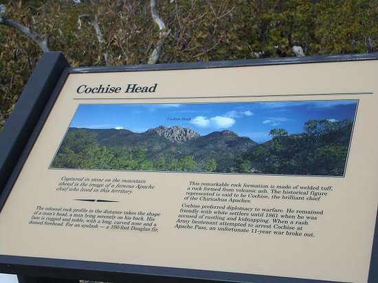 Willcox, AZ:                   Trail sign about Cochise Head