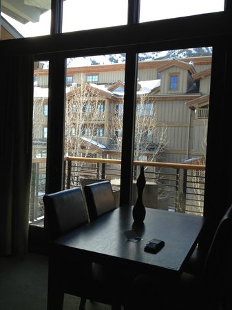 Hotel Terra Jackson Hole:                   The View on your deck includes the Tram and Runs off the right and above the r
