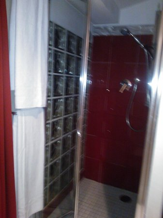 Alex Inn:                   Shower room with glass wall and glass door - limited privacy