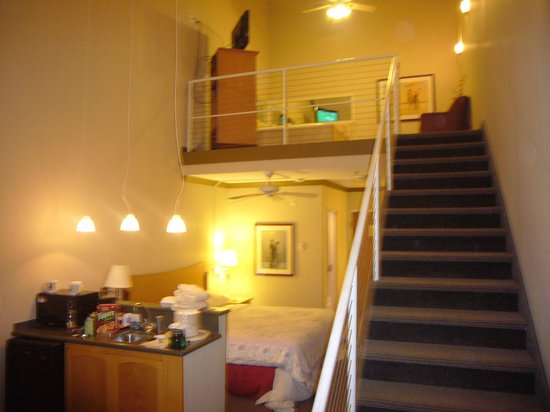 Comfort Inn and Suites:                   bed. bar. stairs to loft area