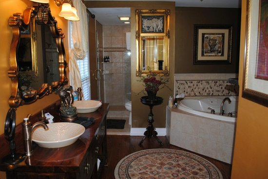 Chestnut Hill Bed & Breakfast Inn:                   Jacuzzi, shower and double sinks with fireplace