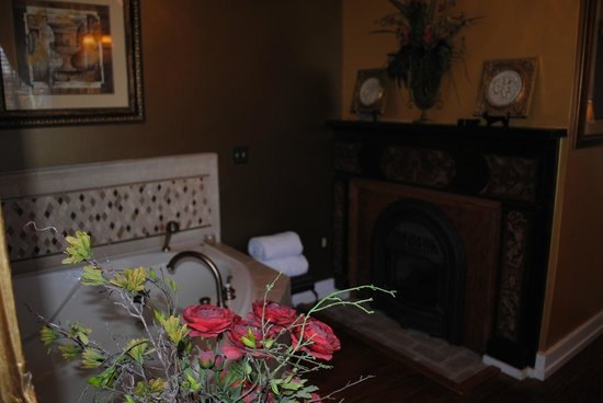 Chestnut Hill Bed &amp; Breakfast Inn:                   Fireplace in bathroom and bedroom
