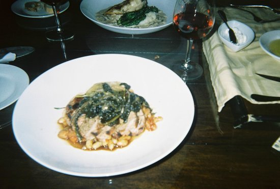 Wedmore Place:                                     Pork with bean ragout and braised kale.