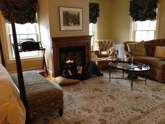 The Lyme Inn:                                     Reading by the gas fire in our room