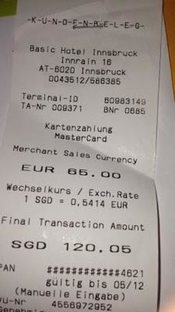 Basic Hotel:                   Our receipt for our stay- its quite affordable considering its Europe