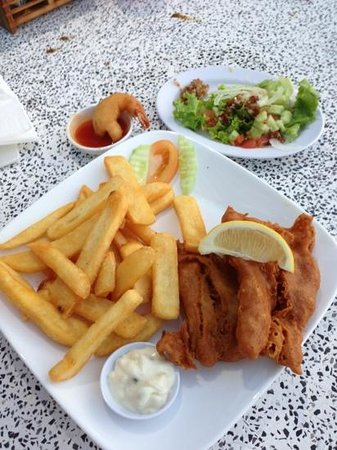 Langkawi District, Malaysia:                   fish and chips at the nearby beach restaurant