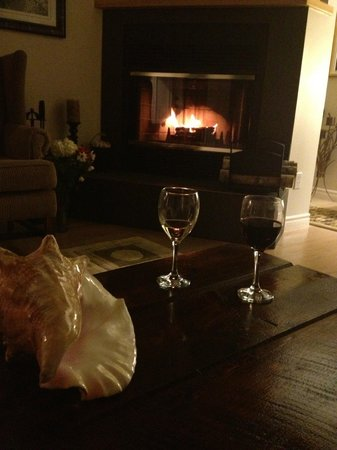 Gray Gables Bed and Breakfast:                   A glass of wine by the fire