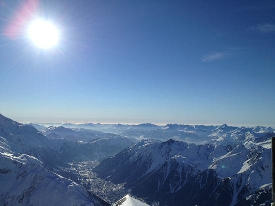 Le Vert Hotel:                   View from top of Grands Montets
