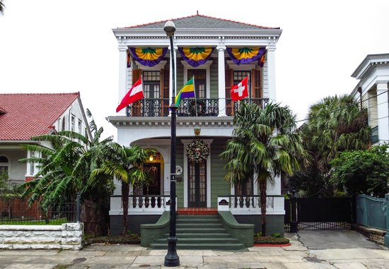 Five Continents Bed and Breakfast: Exterior at Mardi Gras (photographed by a guest)