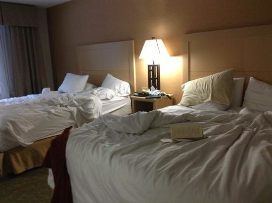 Holiday Inn Express North Conway: beds (after we used them)