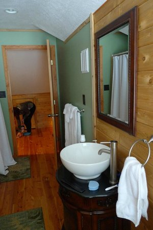 Grand Marais, MI:                   bathroom looking out